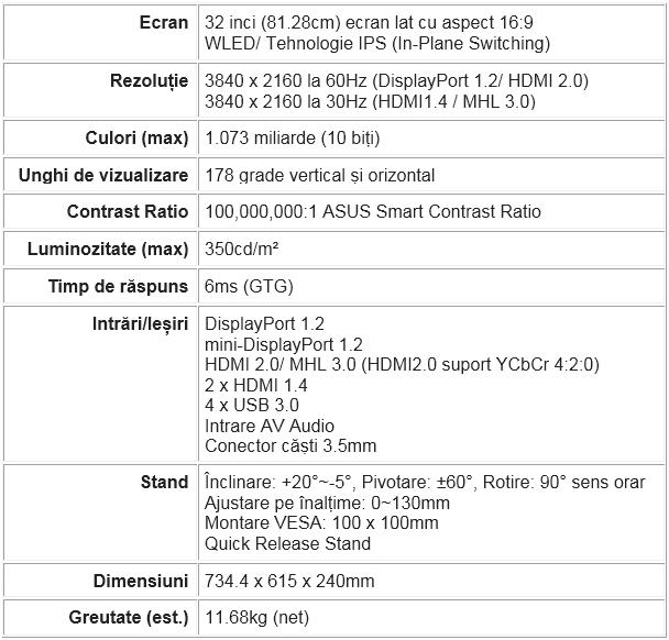 Specificatii monitorul ProArt PA328Q