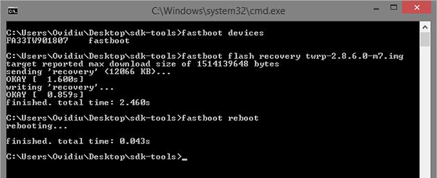 Instaleaza un custom recovery folosind Fastboot