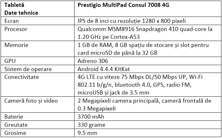 Specificatii Prestigio MultiPad Consul 7008 4G