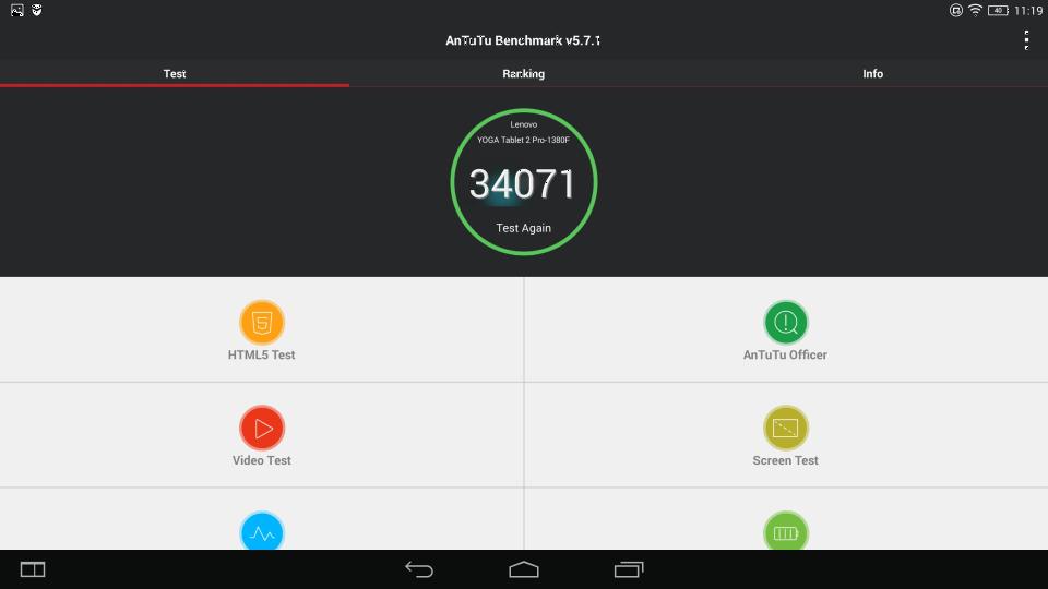Teste benchmark Lenovo Yoga Tablet 2 Pro