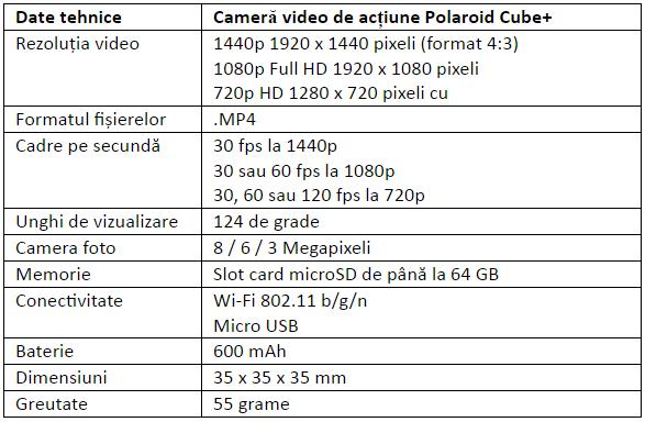 Specificatii Polaroid Cube+
