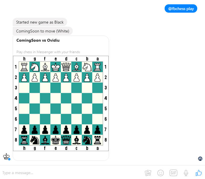 Joaca sah in Facebook Messenger