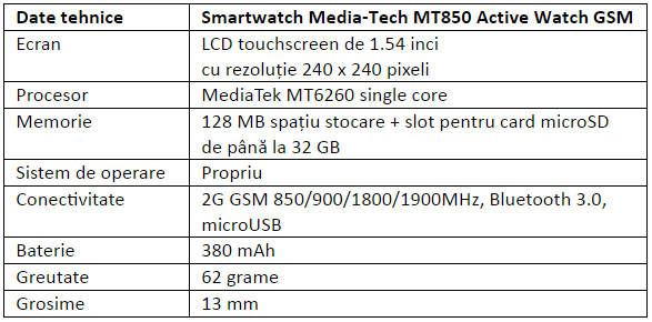 Specificatii Media-Tech MT850 Active Watch GSM