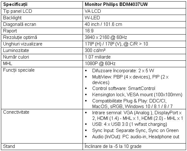 Specificatii monitor Philips BDM4037UW