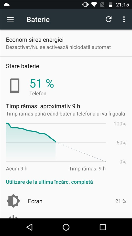 Screenshot baterie Moto Z Play