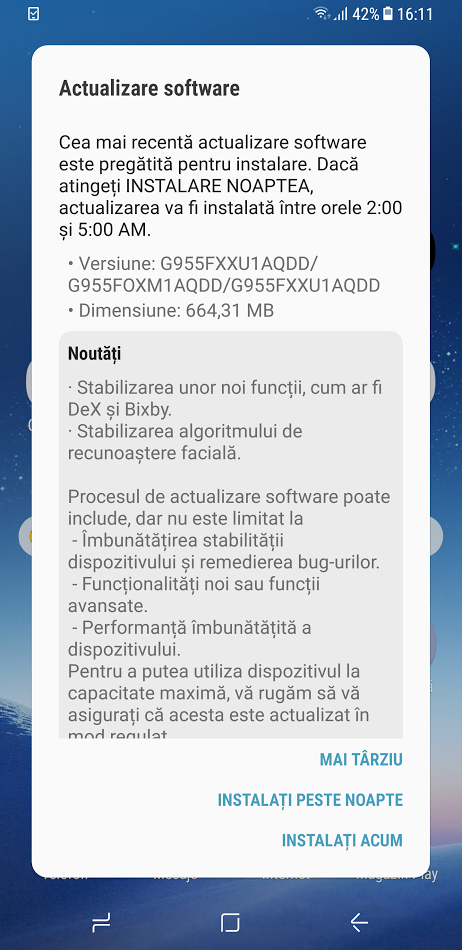 Samsung GALAXY S8 și S8 Plus primesc update firmware de 664 31 MB