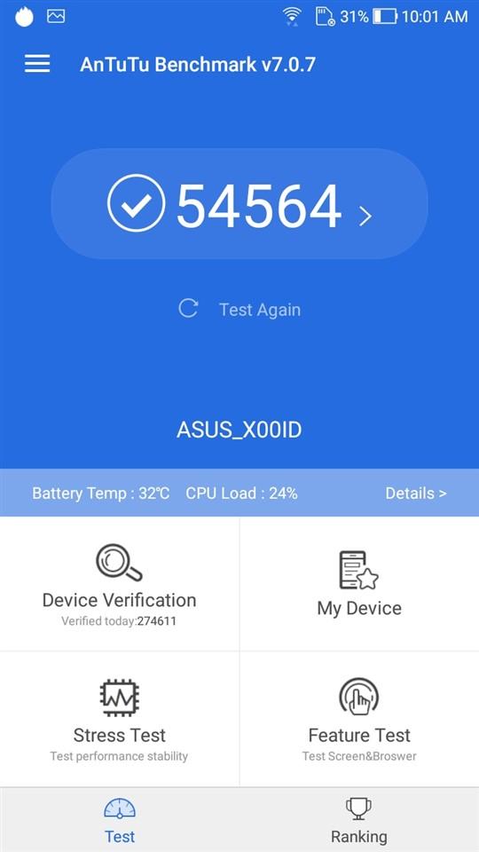 Teste benchmark ASUS Zenfone 4 Max