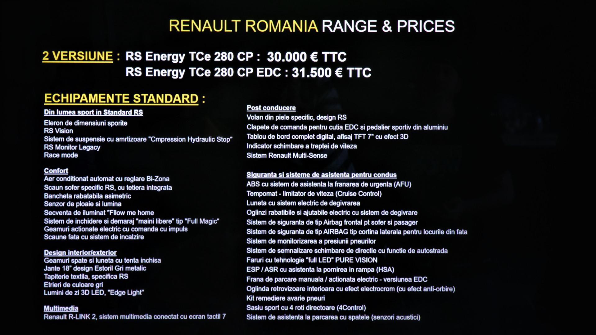 Preturi si echipamente Renault Megane RS 2018