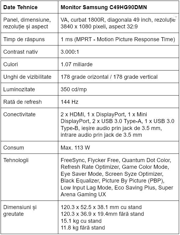 Specificatii monitor gaming Samsung C49HG90DMN