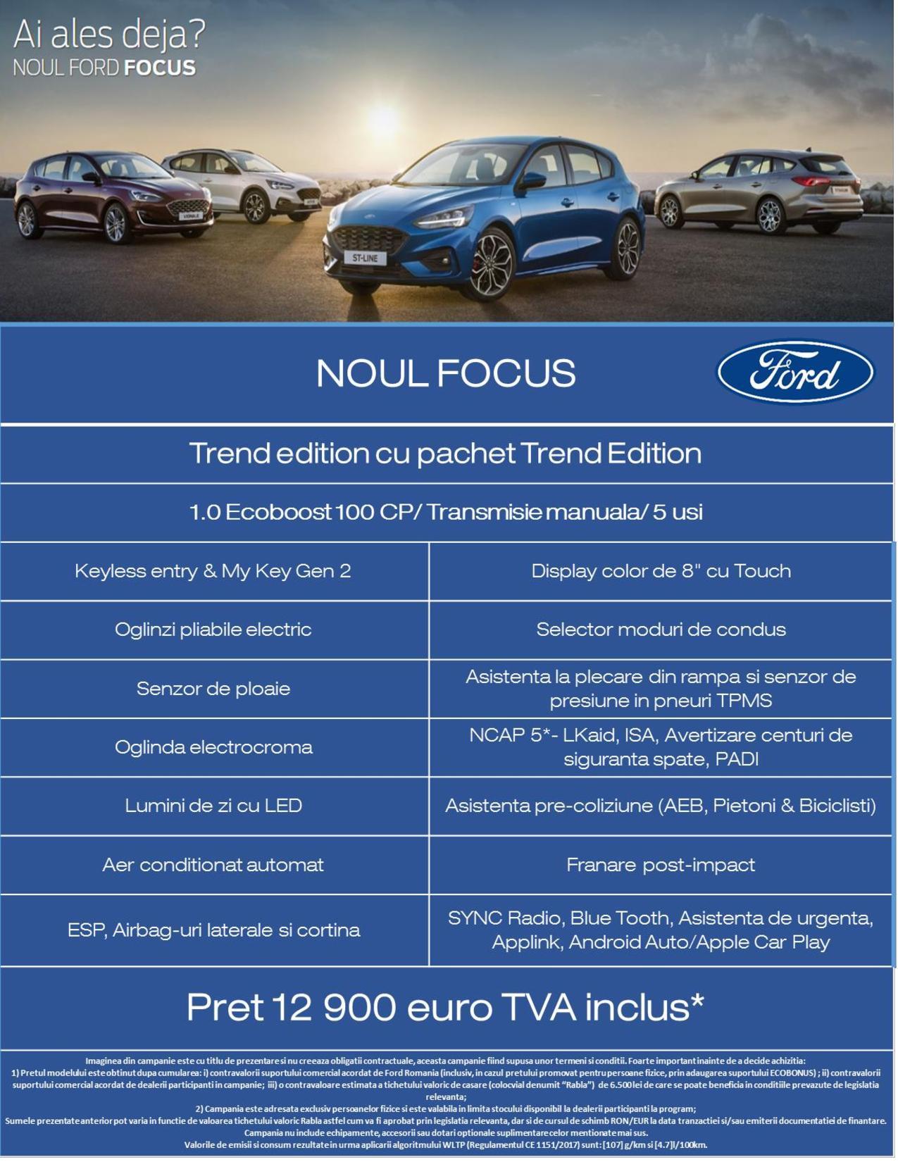 Oferta de lansare noul Ford Focus