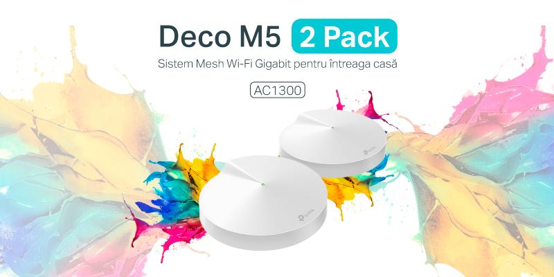 TP-Link Deco M5 în ediția cu 2 unități = viteză Gigabit pentru suprafețe de până la 350 mp