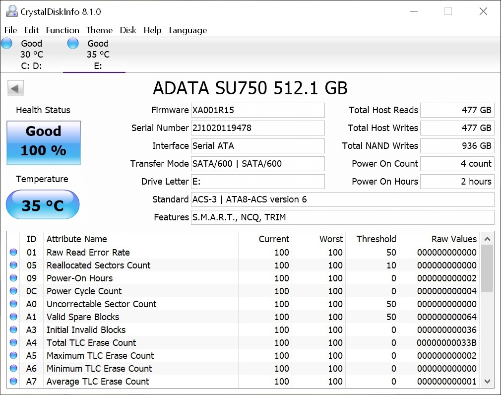 Info ADATA Ultimate SU750 512 GB