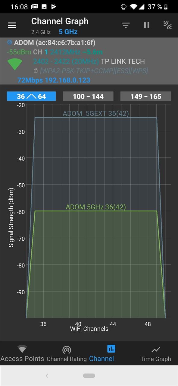 Putere semnal pe 5 GHz Tenda A18 vs router
