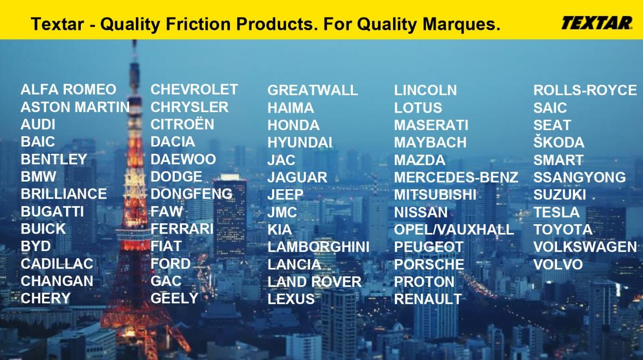 Producatori auto ce folosesc produse Textar
