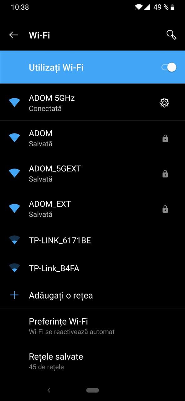 Retele Wi-Fi de la router si de la repeater Tenda A15
