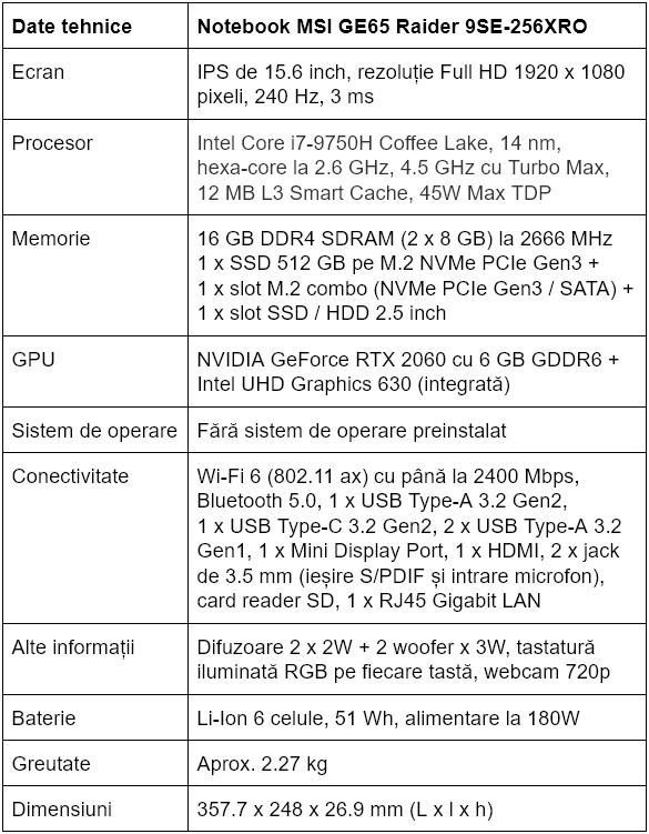 Specificatii notebook MSI GE65 Raider 9SE-256XRO