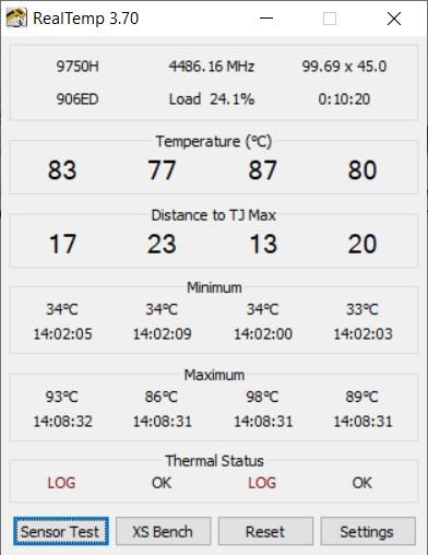 Temperaturi CPU MSI GE65 Raider 9SE