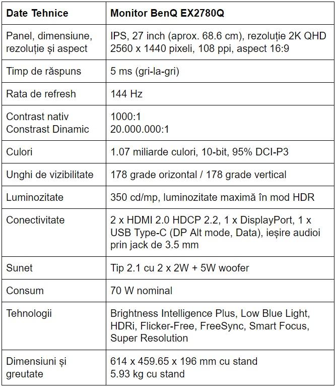 Specificatii monitor BenQ EX2780Q