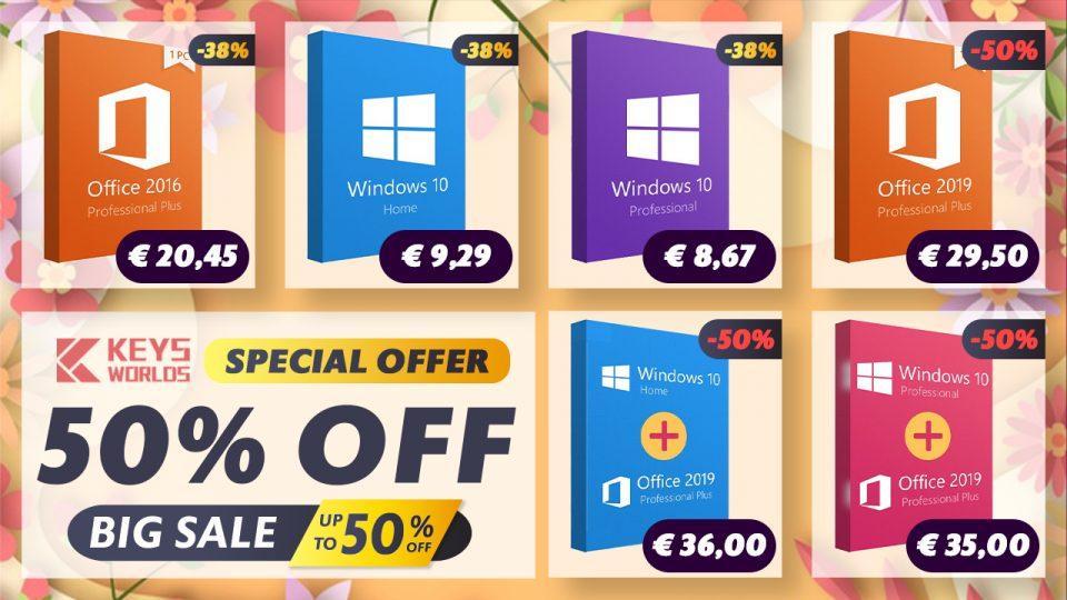 Reduceri de până la 50%: Windows 10 la 42 lei, Office 2019 Pro la 143 lei