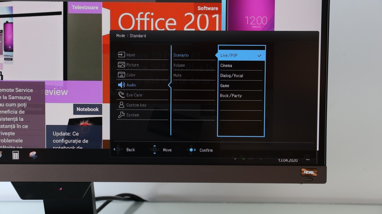 Meniu OSD monitor 4K BenQ EW2780U