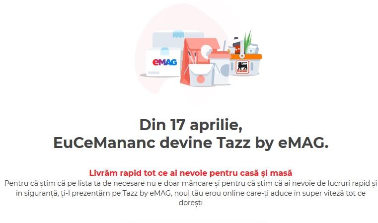 Platforma de food delivery EuCeMananc s-a transformat în Tazz by eMAG