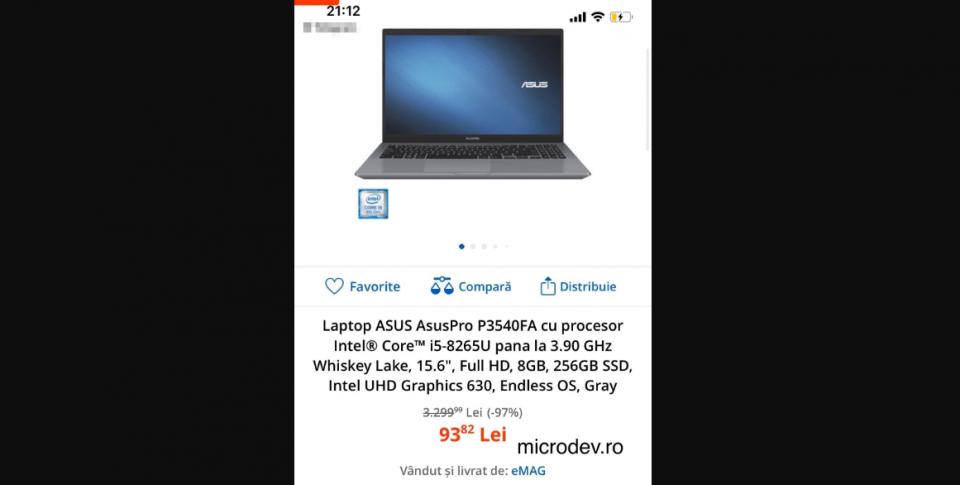 Ce laptopuri a afișat eMAG la preț greșit și urmează a fi livrate în limita a 1 unitate / comandă