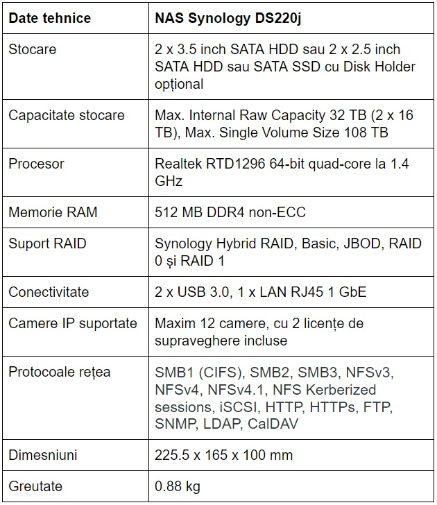 Specificatii NAS Synology DS220j