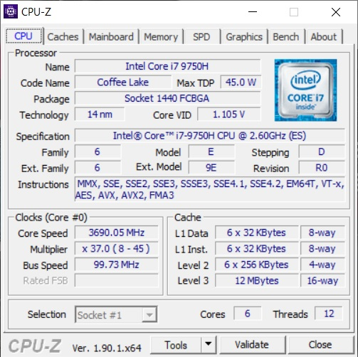 Info CPU-Z Acer ConceptD 3 CN315-71