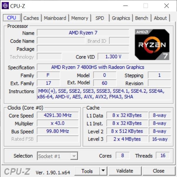 Info CPU-Z ASUS ROG Zephyrus G14 GA401IV