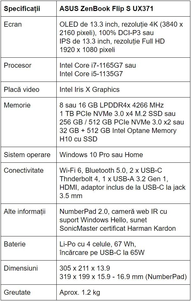 Specificatii ASUS ZenBook Flip S UX371