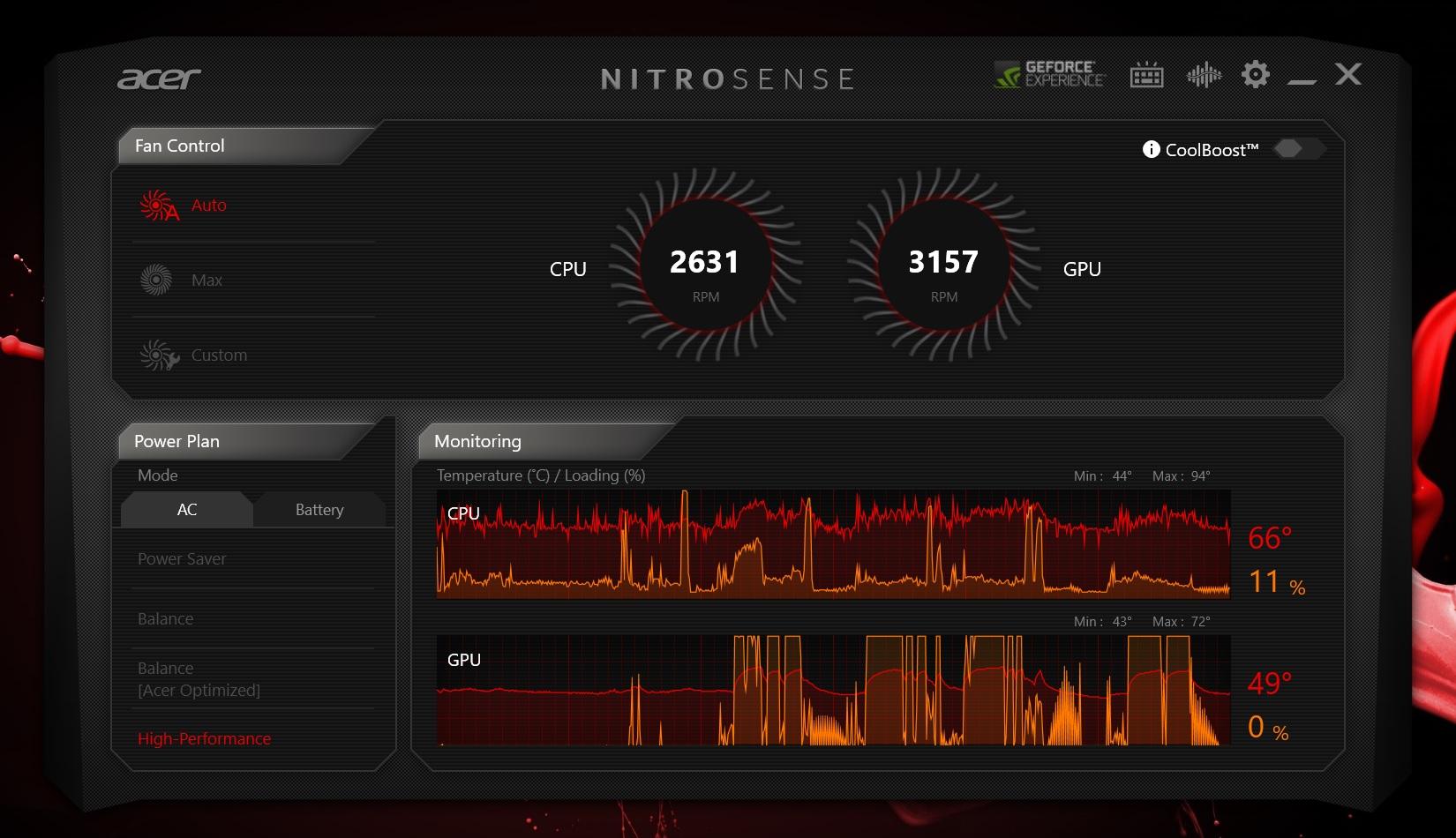 Temperaturi CPU si GPU Acer Nitro 5 AN515-55