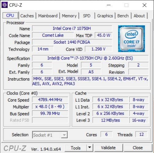 Info CPU-Z Acer ConceptD 3 CN315-72G