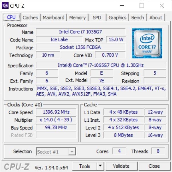 Info CPU-Z Asus ZenBook 13 UX325JA