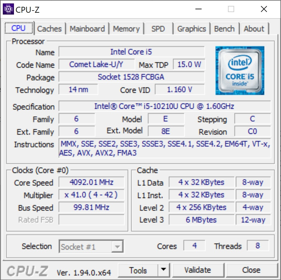 Info CPU-Z Huawei MateBook X 2020