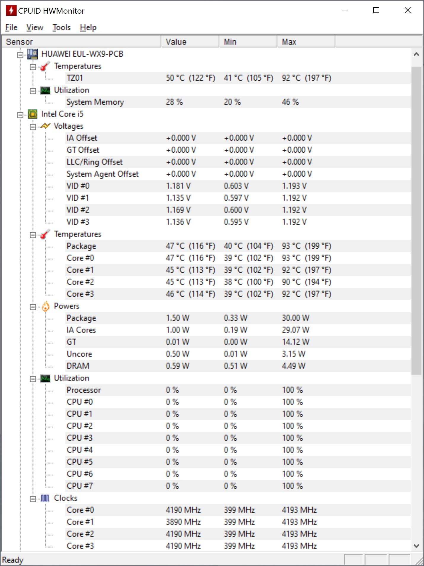 Temperaturi maxime CPU pe Huawei MateBook X 2020