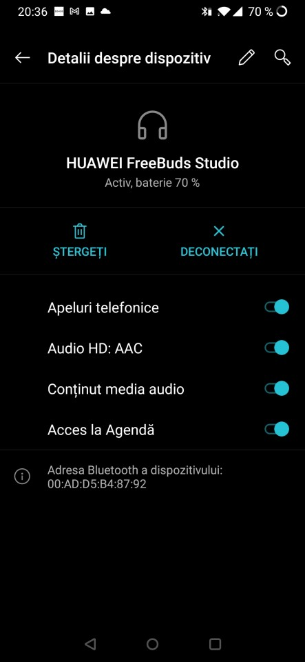 Autonomie Huawei FreeBuds Studio