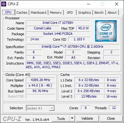 Info CPU-Z Acer Predator Helios 300 PH317-54