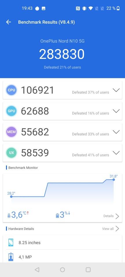 Teste benchmark OnePlus Nord N10 5G