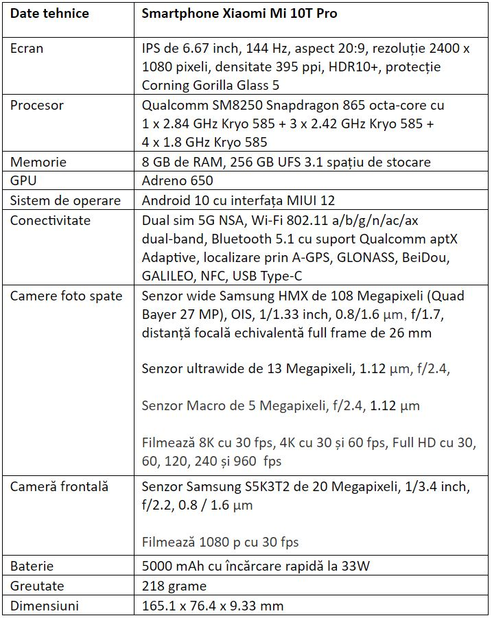 Specificatii Xiaomi Mi 10T Pro