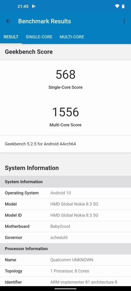 Teste benchmark Nokia 8.3 5G