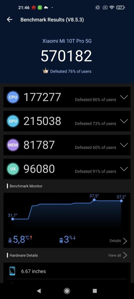 Teste benchmark Xiaomi Mi 10T Pro