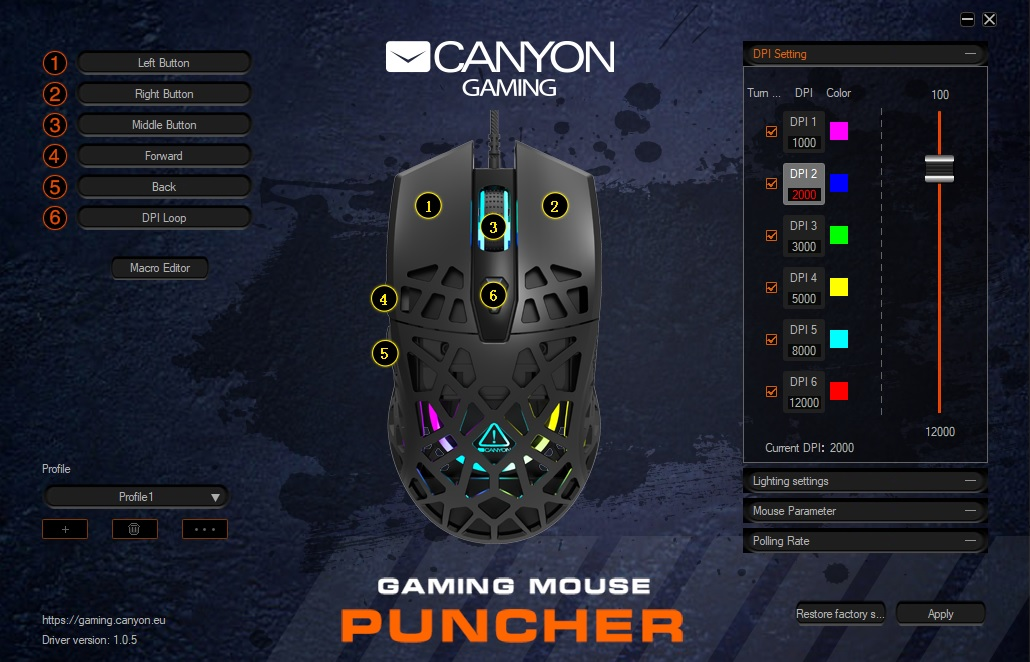 Screenshot utilitar Windows 10 maus gaming Canyon Puncher GM-20