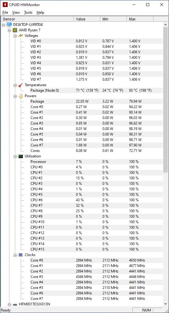 Temperaturi maxime CPU ASUS ROG Strix G713Q