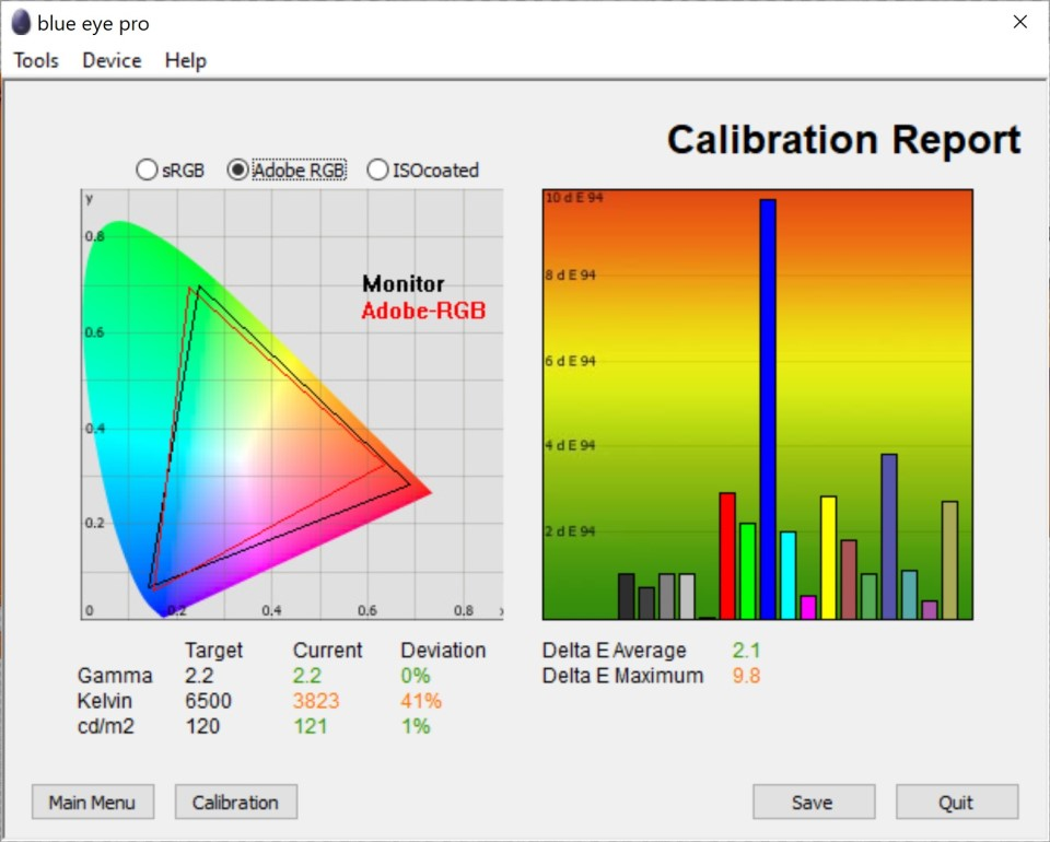 Test culori ecran inainte calibrare notebook Acer ConceptD 7 CN715-72G