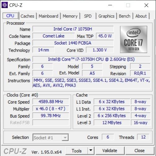 Info CPU-Z Acer Predator Triton 500 PT515-52