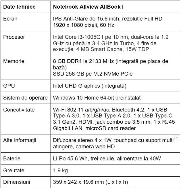 Specificatii notebook Allview AllBook I
