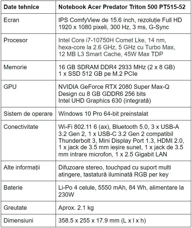 Specificatii notebook de gaming Acer Predator Triton 500 PT515-52