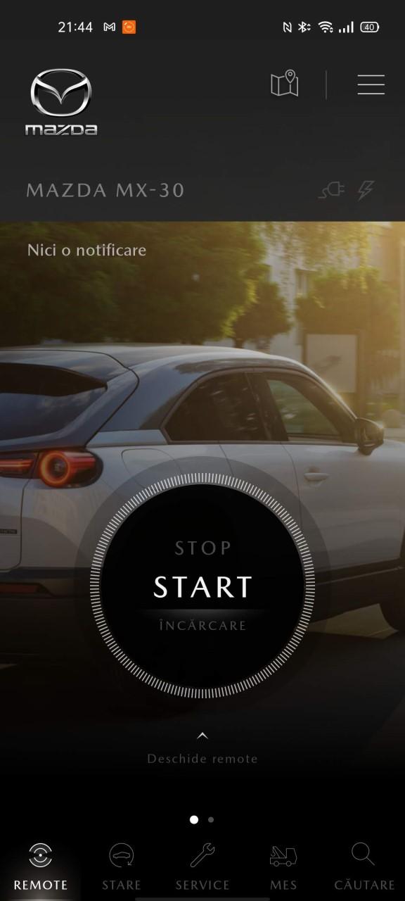 Screenshot aplicatie My Mazda cu Mazda MX-30 2021