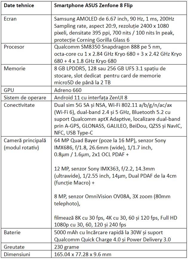 Specificatii ASUS Zenfone 8 Flip