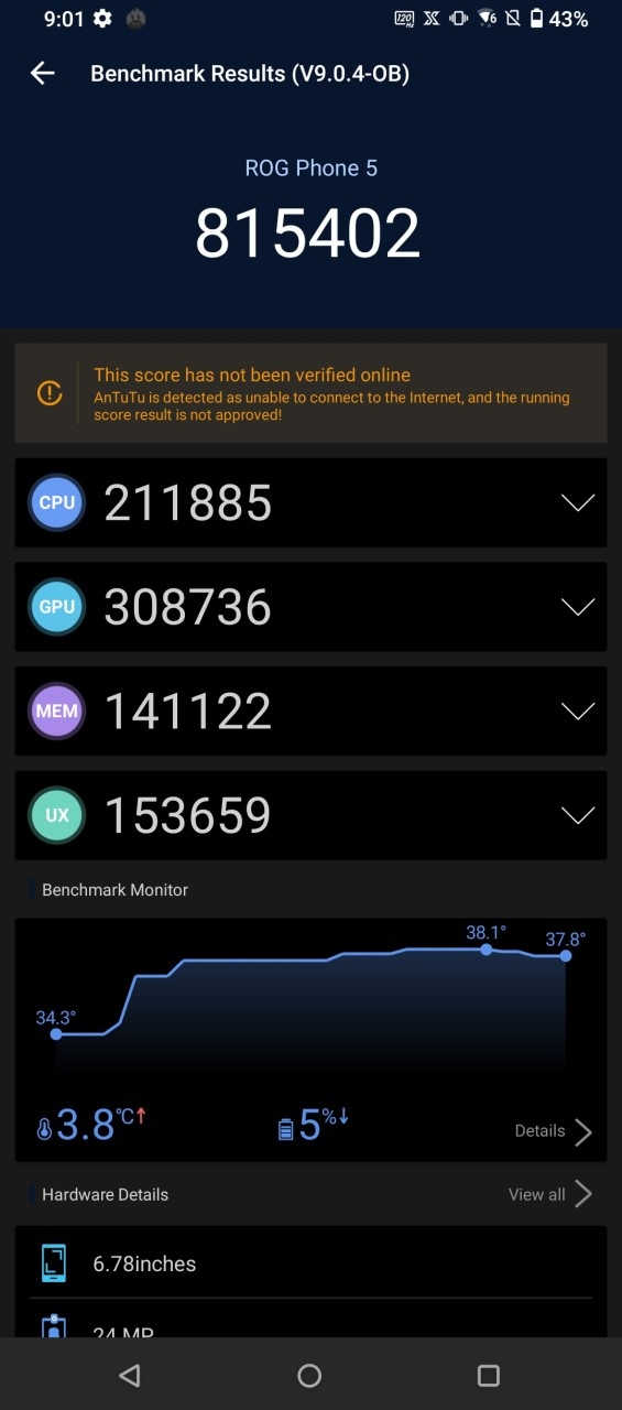 Teste benchmark ASUS ROG Phone 5